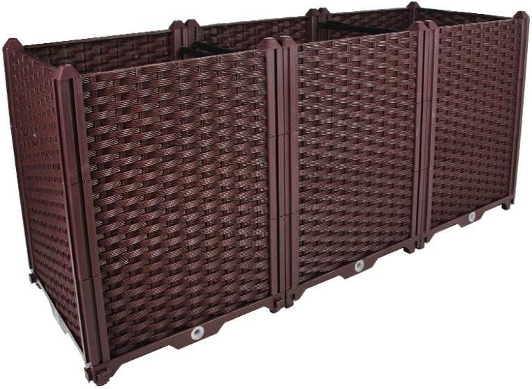 BAOYOUNI Rectangular Raised Garden Bed Kit Indoor Outdoor Plastic Planter Grow Box for Fresh Vegetables, Herbs, Flowers & Succulents, Brown, 46.06'' x 15.35'' x 20.47''
