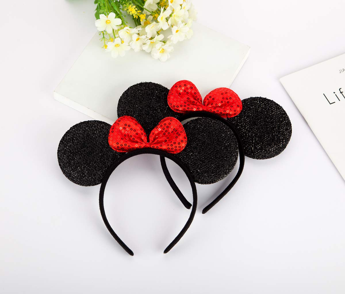 FANXIER  2 Pcs Mice Ears Headbands Hair Band for Children Mom Baby Boys Girls Birthday Party Mouse Ears