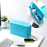 Techtest Cable Management Box Cum Charging Station, Desk Organizer, Wire Holder Router, Tidy, Neat Clean up Tray, Big Cord Hider bin   32X12X14cm (Blue)