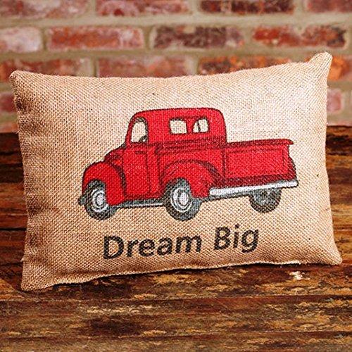 Red Truck Dream Big 8 x 12 inch Rectangular Burlap Inspirational Throw Pillow