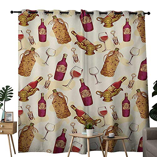 NUOMANAN Living Room Curtains Winery,Vintage Pattern with Glass Bottle Corkscrew Country Restaurant Table,Fuchsia Ruby Pale Brown,Adjustable Tie Up Shade Rod Pocket Curtain 52