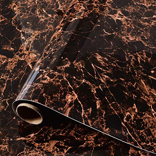 MULLSAN Black Orange Marble Gloss Vinyl Film Self-Adhesive PVC Contact Paper 15.7''x79'' Roll ()