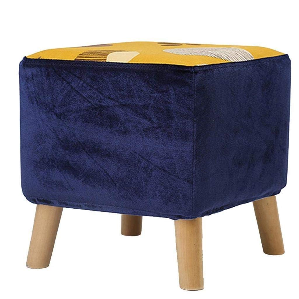 RDMZ Ottoman Chair Stool Upholstered Footstool Linen Square Bench Multifunction Household Creative (Color : Blue Leaves)