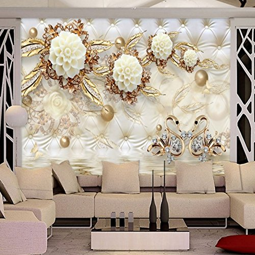 300cmX210cm Large Custom Wallpaper 3d Luxury Gold White Flower Soft Bag Ball Jewelry TV Living Room Bedroom Study House Decoration,300cmX210cm