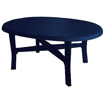 Table de jardin 165 x 110 cm, ovale, bleu - Plastique/table de ...