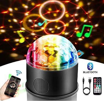 Ξ AO Star Proyector de Bolas de Luces 9W 9 Colores RGB Sonido ...