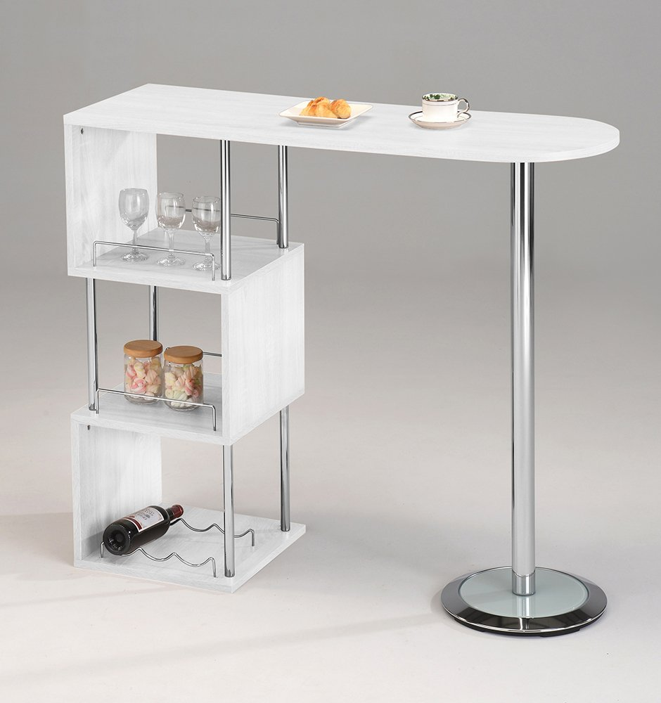 Kings Brand Furniture - Minorca Modern Wine Bar Table w/Shelves (White) by Kings Brand Furniture
