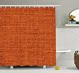 Burnt Orange Curtains Burnt Orange Decor Shower Curtain Set By Ambesonne, Faded Burlap Texture Print Background Of Macro Thick Fabric Graphic Mat Decor Artrpint , Bathroom Accessories, 69W X 70L Inches, Burnt Orange