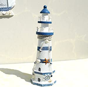 ChezMax Wooden Lighthouse High Nautical Themed Rooms Lighthouse Home Decor 15.0""