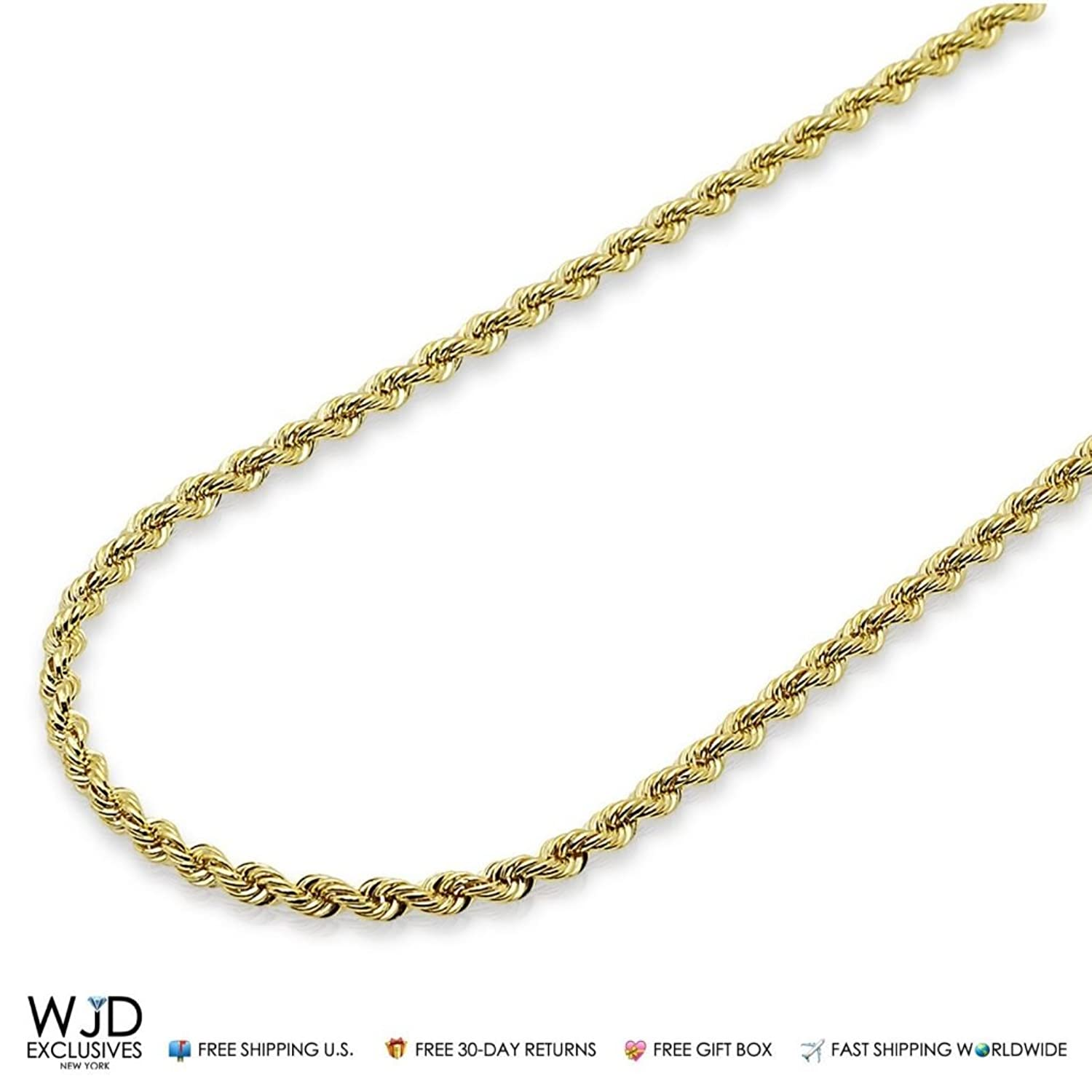 """14K Yellow Gold 3mm Rope Hollow Link Chain Necklace 16""""-28"""""""