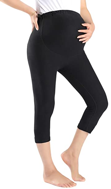 a5a71184526df Foucome Women's Maternity Active Workout Yoga Capri Leggings Over The Belly  Pregnancy Tights Pants Black