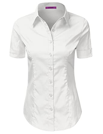 Amazon.com: LA BASIC Womens Short Sleeve Button Down Collared ...