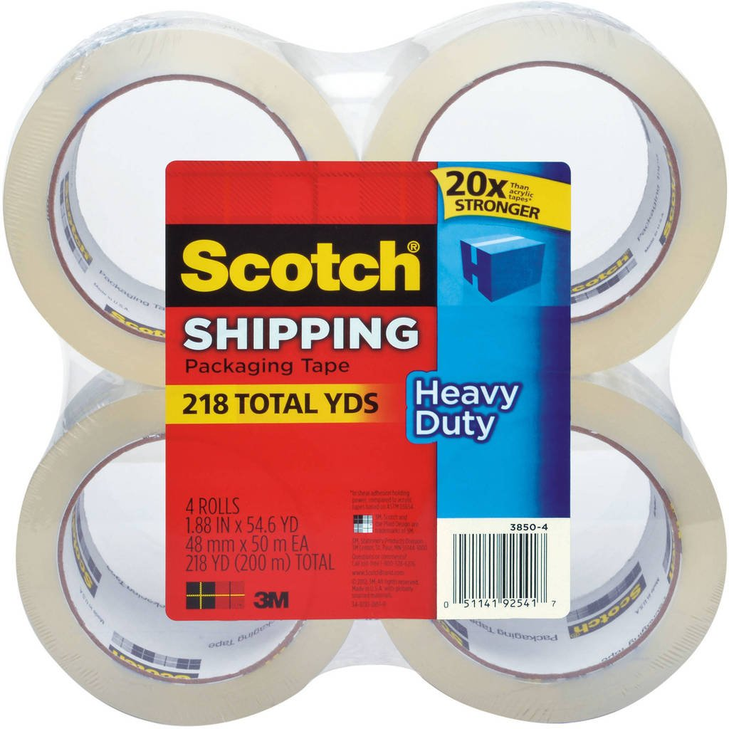 Scotch Heavy-Duty Shipping Packaging Tape, 1.88'' x 54.6 yds, 4-Pack