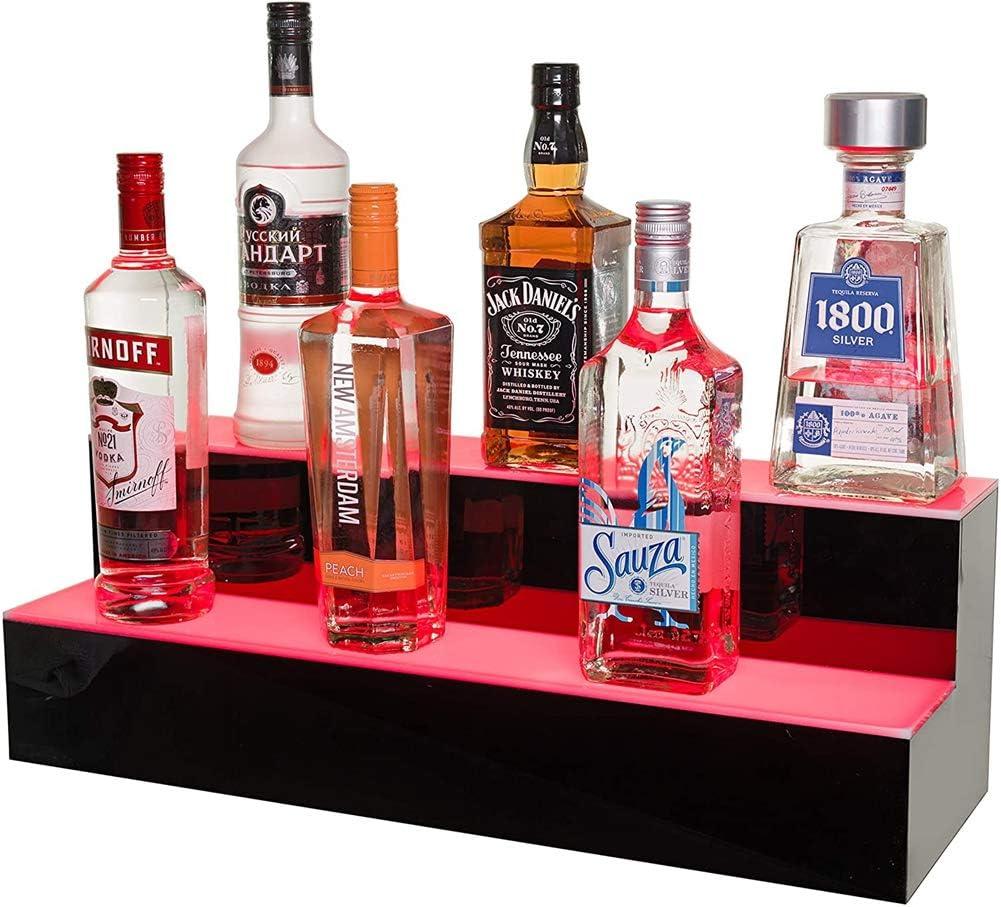 LED Lighted Liquor Bottle Display 2 Step Illuminated Bottle Shelf for Home Commercial Bar Drinks Lighting Shelves High Gloss Black Finish with RF Remote Control.