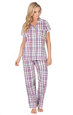 Ladies / Womens Woven 100% Cotton Pyjamas / Pyjama Top and Bottoms Set (Small