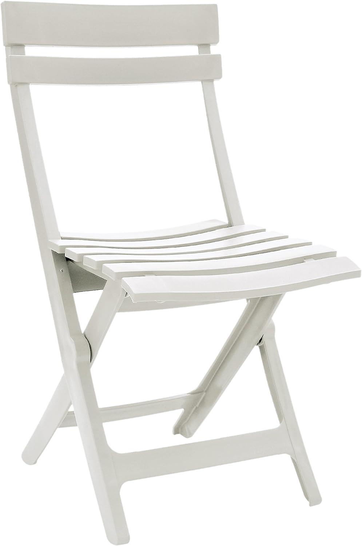 Grosfillex 49036004 Silla Plegable Miami, Blanco, 50 x 42 x 80 cm