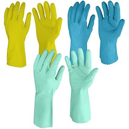 Primeway� Rubberex Superior Silverlined, Large and Sofie Skin Nitrile Rubber Medium Hand Gloves Combo Pack, 3 Pair, Assorted
