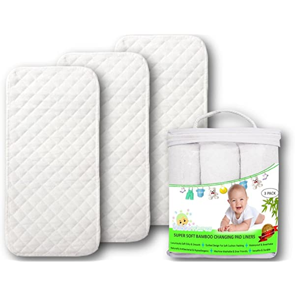 Machine Washable with Bonus Travel Bag Water Proof Premium Baby Reusable Changing Pad Liners Pack of 2