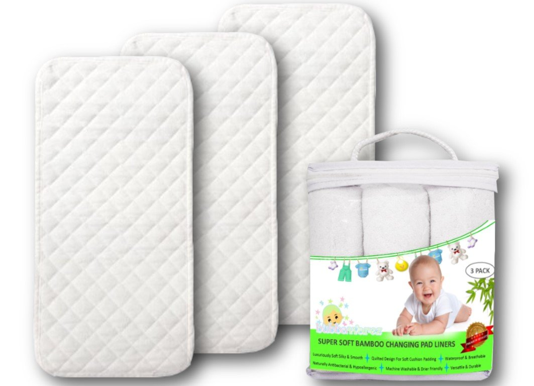 Premium Changing Pad Liners | Waterproof Antibacterial & Hypoallergenic | Machine Wash & Dry | Reusable Bamboo Softest Change Table Cover | Portable Travel Mats | 3 Pack Large 26'' X 12.5'' Bubbawarez