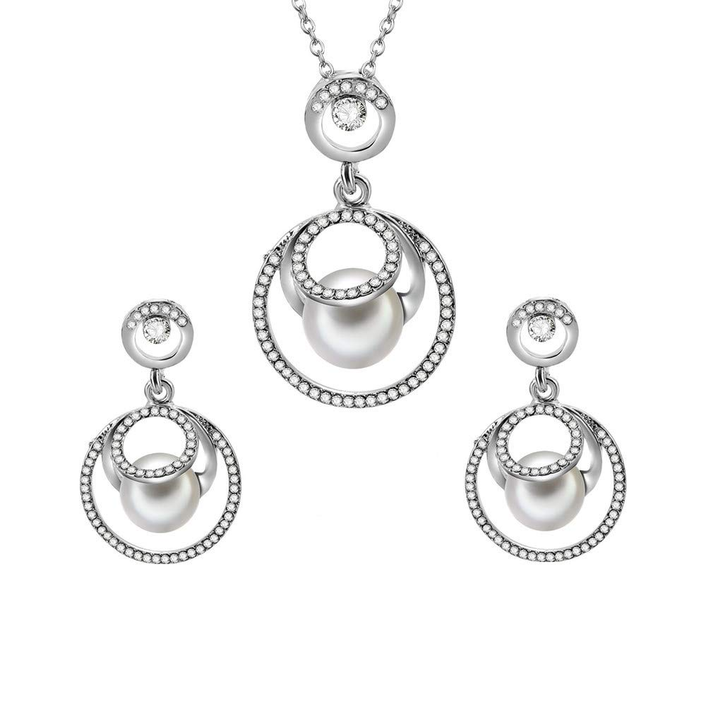 Geetobby Women's Ladies Flower Oval Shape Leaf Necklace Chain Earrings Set Crystal S925 Sterling Silver Bohemian Pendant Luxury Swarovski for Brides and Weddings