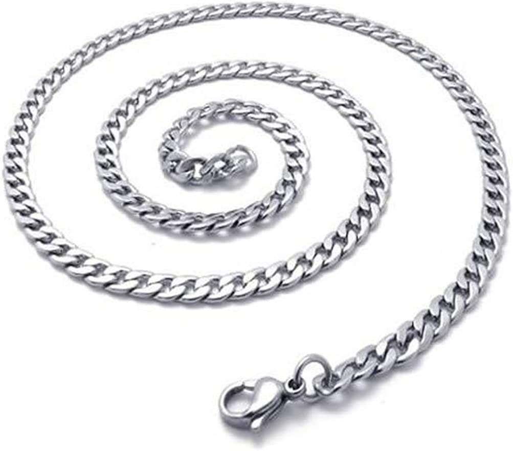 SANDRA Mens Jewelry 4 MM 10-40 Silver Stainless Steel Curb Necklace Chain