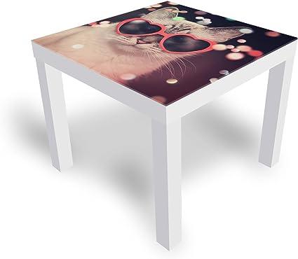 Dekoglas Ikea Lack Table D Appoint Avec Plateau En Verre Motif Chat Avec Lunettes Blanc 55 X 55 X 45 Cm Amazon Fr Cuisine Maison
