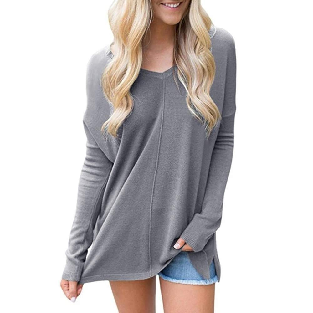 Pervobs Women Loose Swing Tunic Sweater Casual Long Sleeve Sweater Loose Pullover