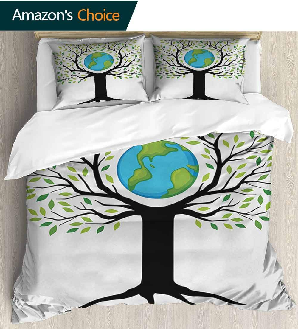 Tree of Life Bedding Bedspread,Eco Friendly Earth Tree Saving The Planet Life Climate Symbolic Home Art Colorful Floral Print - 3 Pieces(68'' W x 85'' L) Green Black Blue
