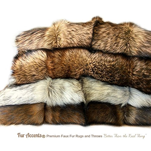 - Fur Accents Exotic Pieced Fur - Gray Shadow Wolf - Faux Fur Throw Blanket - Extreme Luxury - Cuddle Fur Lining Hand Made - USA