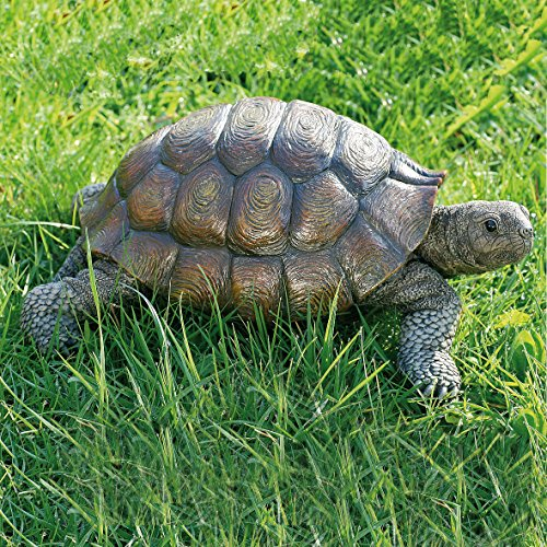 Toby Turtle, Ultra-realistic Outdoor Garden Tortoise Statue, 13 3/8 x 9 3/4 x 5 1/2 inches, By Whole House Worlds