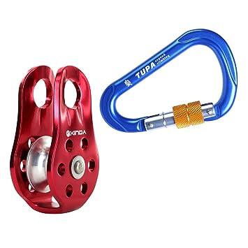 c1ab19bc0e8cf8 MagiDeal Bergsport D-Ring Klettern Karabinerhaken + Klettern Seilrolle Set