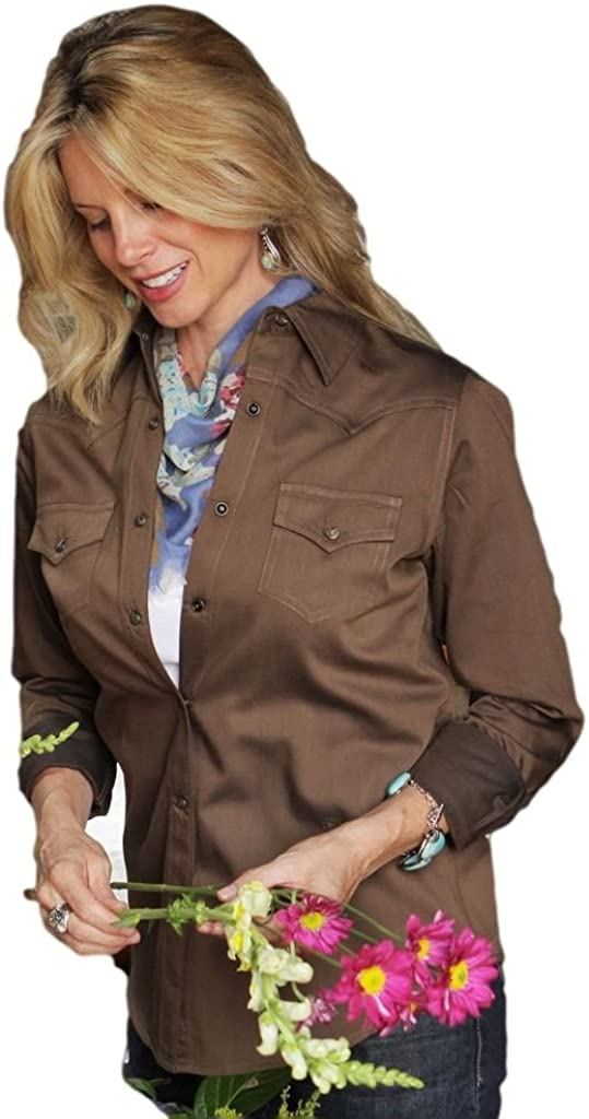 Miller Ranch Western Shirt Womens Pinpoint Twill L//S Brown DSW4205001