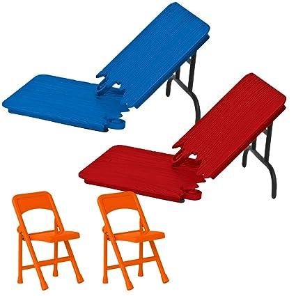 Amazon.com: Rojo y azul rompible mesas y sillas para WWE ...