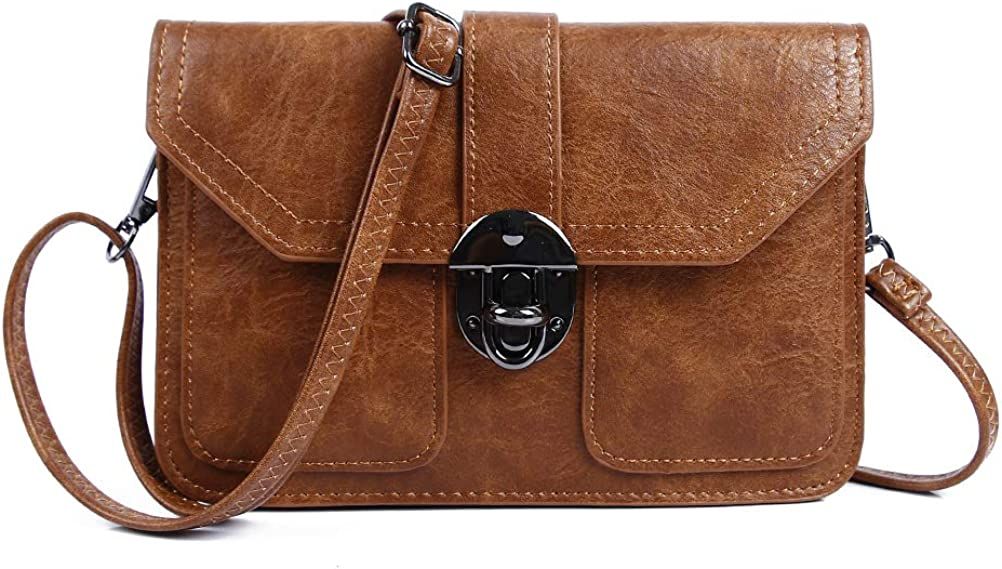 Women Small Crossbody Purse Vegan Leather Cell Phone Bags Wallet With Credit Card Slots