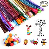 500 Pieces Pipe Cleaners Set, Including 300 Pcs 26 Colors Chenille Stems, 100 Pcs 6 Size Wiggle Googly Eyes and 50 Pcs Pom Poms for Craft DIY Art Supplies