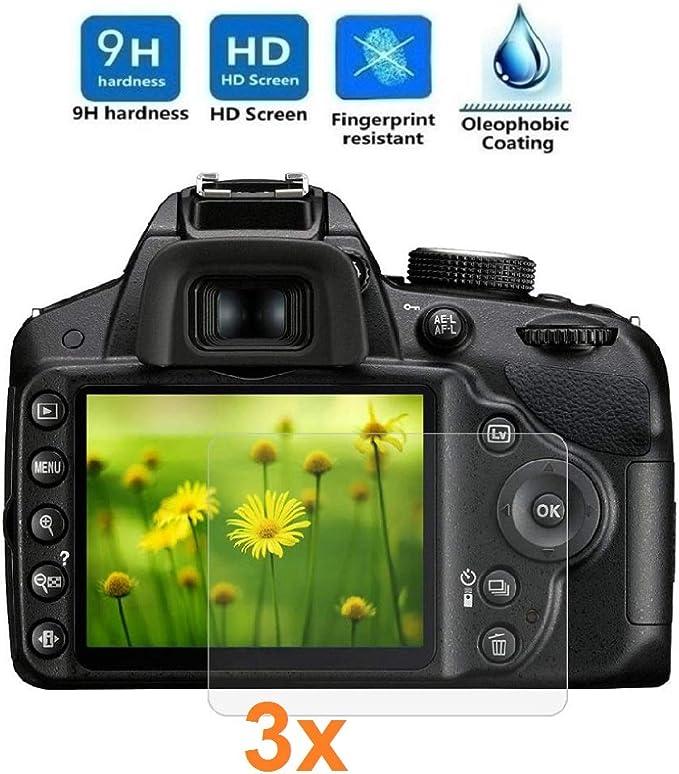 Imagen deREY 3X Protector de Pantalla para Nikon D3200 - D3300 - D3400, Cristal Vidrio Templado Premium