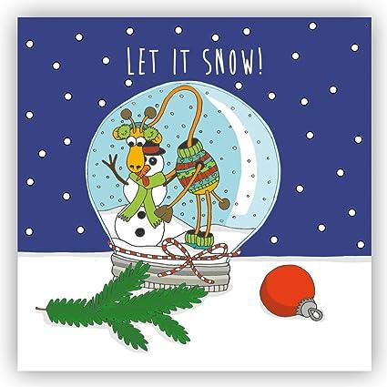 Frohe Weihnachten Lustige Bilder.Postkarte Let It Snow Winter Weihnachten
