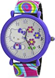 Hello Kitty #HK2169D Women's White Colorful Rainbow Expansion Band Silver Flower Dial Watch