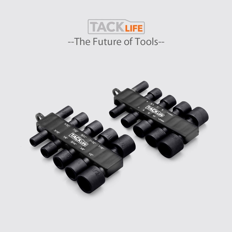f/ür Bohrschrauber schnell austauschbar in Inch 1//2-5//32 und metrisch 4 mm Pistole klassisch Steckschl/üssel 20 St/ück 12 mm Tacklife PNDB1A Sechskant-Adapter