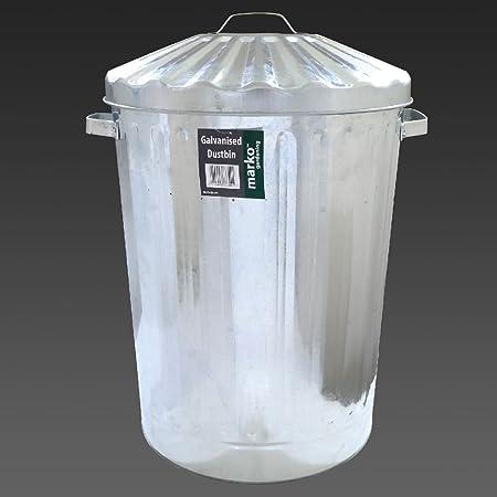 90L de Metal galvanizado Bin basura residuos jardín de almacenamiento cubo de la basura metálico y tapa de basura: Amazon.es: Hogar
