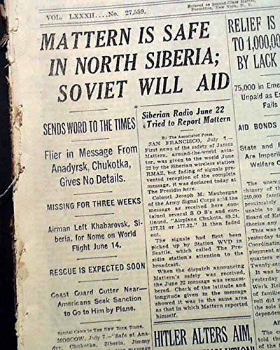 JIMMIE MATTERN American Airplane Aviator Found ALIVE in Siberia 1933 Newspaper THE NEW YORK TIMES, July 8, 1933