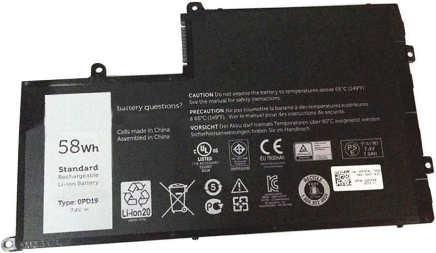 Dentsing 7.4V 58Wh OPD19 Laptop Battery Compatible with Dell Inspiron 15 5547 5442 5542 0DFVYN 0PD19 5MD4V 86JK8 DFVYN TRHFF