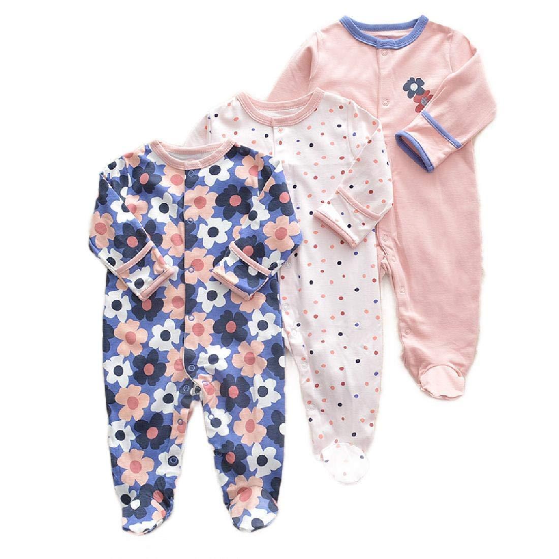 Pack of 3 HEFASDM Newborn Toddler Longsleeve Footed Romper Bodysuit Jumpsuit