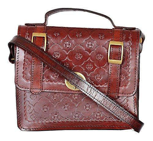 8 Inch Hand Carved & Embossed Crafted Satchel bag Leather messenger Hide & Top Finished vintage Crome Hardware Adjustable shoulder Strap Bag By Sparsh INC.