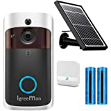 Igreeman Video Doorbell WiFi IP Security Camera, Wireless Powered 720P Realtime Smart Watchdog Surveillance System w/Night Vision, Free Cloud Service and Heat-Base PIR Motion Detection Push Alarm
