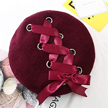 Amazon.com   New Sweet Cute Berets Women Winter Hats Soft Macaron Color Ribbon  Woolen Lolita Beret Classical Soft Straps Cross Bow wine red   Beauty c4936fb5a0a