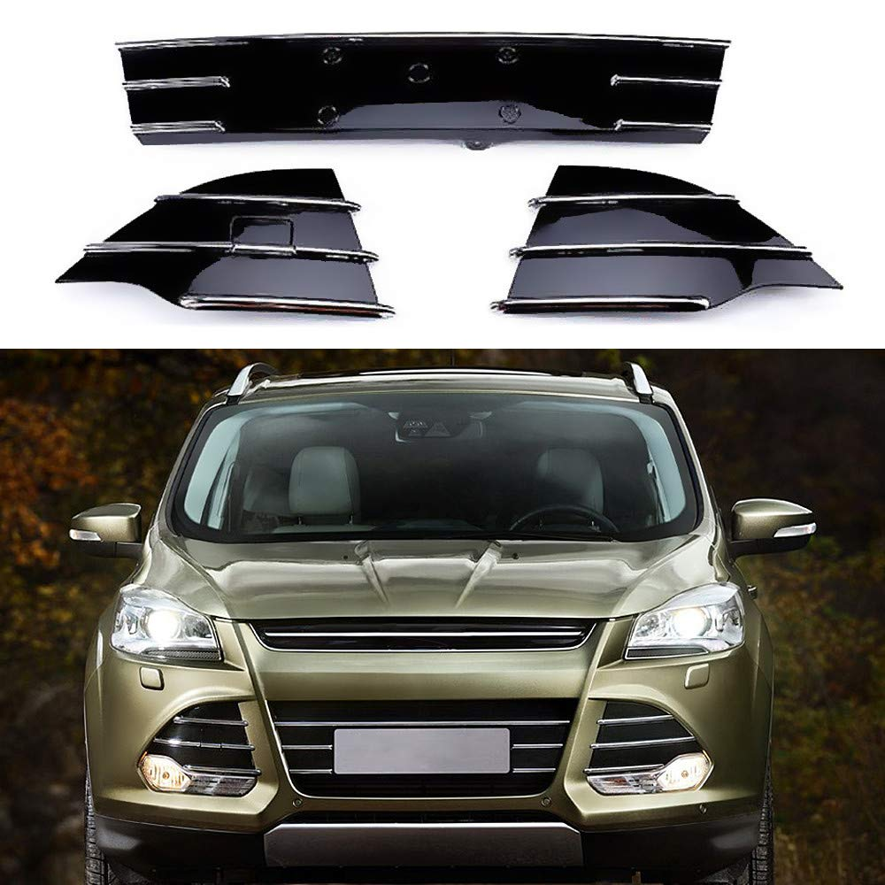 MOTORFANSCLUB Chrome Trim Front Lower Grille for Ford Escape Kuga SE 2013-2016 Grill Fog Cover (3pcs)