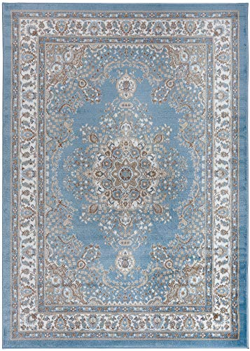 Antep Rugs Siesta Collection Traditional Oriental Polypropylene Indoor Area Rug (Blue/Beige, 5' X 7')