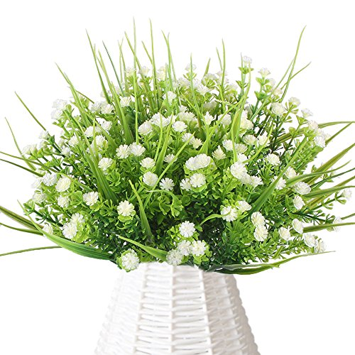 Wedding Bouquet Wildflower (HUAESIN Gypsophila Artificial Flowers 4pcs Plastic Babies Breath White Flower Artificial Flowering Plants Greenery Shrubs for Wedding Arrangements Table Centerpieces Indoor Outdoor)