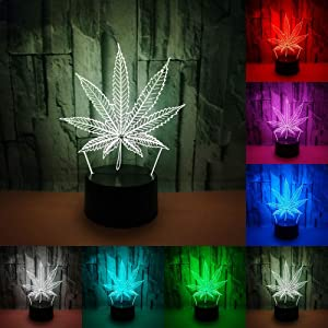 RUMOCOVO Maple Leaf 3D Night Light LED Touch Switch 3D Lamp USB 7 Colors Changing Table Lamp Creative Toys Gift Home Office Decorations Lamp
